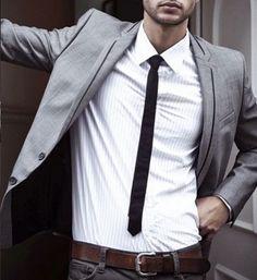 skinny tie with grey blazer