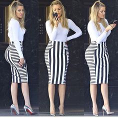 Khloe Kardashian is wearing a pencil skirt that has many decorative lines on it. These lines, as you can see, create an emphasis on her butt and make it seem bigger to others because of the way they are placed. The weight of the lines vary from the front, back and side of the skirt and was purposely made like this to create an emphasis on that body part.