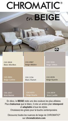 In decoration BEIGE remains one of the most used colors More warm q En d co le BEIGE reste une des couleurs les plus utilis es Plus chaleureux q In decoration BEIGE remains one of the most used colors Warmer than white it creates a timeless background Interior Paint Colors For Living Room, Paint Colors For Home, Bedroom Colors, House Colors, Living Room Decor, Bedroom Decor, Color Palette For Home, Pintura Exterior, Home Staging