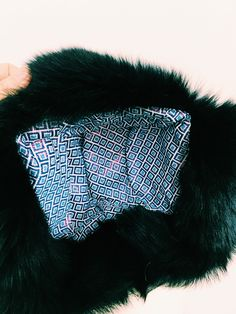 Cecile Millinery, inside/lining of the midnight blue chapka . Handmade in London
