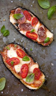 grilled and baked aubergine {eggplant} pizza.