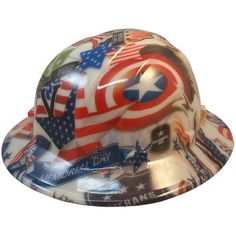 Patriot Day Hydro Dipped GLOW IN THE DARK Hard Hats Full Brim Style with Ratchet Suspensions