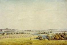 Rügen Landscape (View of Putbus) / Caspar David Friedrich / Watercolour, 1824/25 #Caspar #David #Friedrich #weewado #caspar #david #friedrich #german