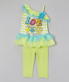 Look what I found on #zulily! Green 'Love' Tutu Tunic & Leggings - Infant, Toddler & Girls #zulilyfinds