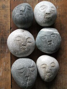 idea for people face – Stone Pebble Painting, Pebble Art, Stone Painting, Rock Sculpture, Pottery Sculpture, Painted Garden Rocks, Painted Rocks, Stone Crafts, Rock Crafts