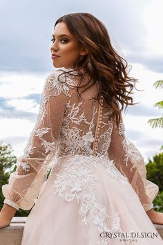crystal design 2017 bridal long sleeves cuff bishop deep v neck heavily embellished bodice romantic a line wedding dress sheer back chapel train (alison) bv -- Crystal Design 2017 Wedding Dresses Sheer Wedding Dress, Red Wedding Dresses, Affordable Wedding Dresses, Princess Wedding Dresses, Tulle Wedding, Wedding Dresses Plus Size, Bridal Dresses, 2017 Wedding, 2017 Bridal