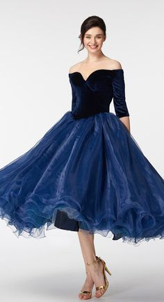 Navy blue vintage prom dresses with sleeves off the shoulder prom dress tea length ball gown prom dresses short