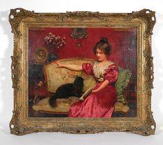 Leo Malempre, cat interrupting reader, Victorian