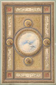 Jules-Edmond-Charles Lachaise | Design for a carved and painted ceiling with clouds and ducks in the central circular panel | The Met