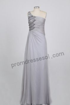 Gray One-shoulder Jewelry Tencel Formal Evening Dress BY021