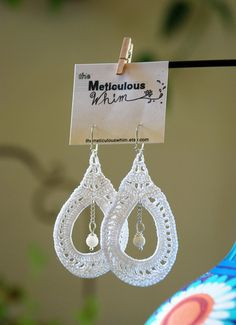 White Lace Crochet Earrings  Hypoallergenic by theMeticulousWhim
