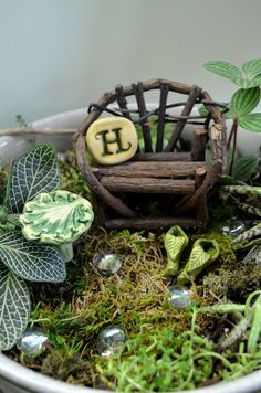 Miniature Leaf Table for Fairy garden by garnetteh on Etsy, $7.50