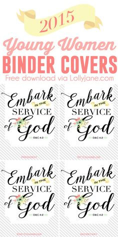 2015 Young Women LDS Binder Covers for the mutual theme (includes blank, President, Counselors + Secretary covers!) FREE 8x10 via lollyjane.com
