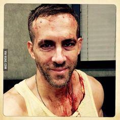"""Ryan Reynolds halfway through the shoot for Deadpool"""