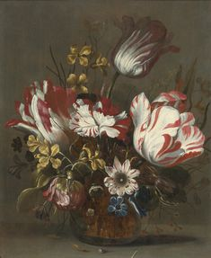 HANS BOLLONGIER PROBABLY HAARLEM 1598/1602 - 1672/75 TULIPS AND OTHER FLOWERS IN A GLASS VASS
