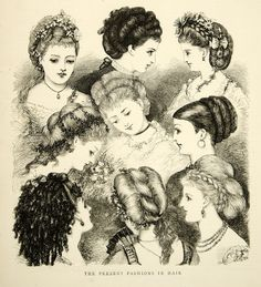 1870 Wood Engraving Art Victorian Era Womens Hairstyles Fashion Portrait Costume