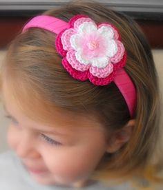 Headband with crochet flower