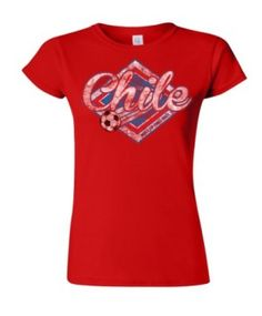Chile Football World Cup Ladies Retro Soccer T-Shirt @ http://www.world-cup-products-worldwide.com/chile-2014-football-world-cup-ladies-retro-soccer-t-shirt/