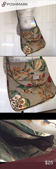 """Bird Print Twill Messenger Bag pretty bird print twill messenger style bag - purchased from boutique in Portland. inside features zip side pocket as well as a double side pocket. magnetic snap closure. very good pre-loved condition. 11.5x13x4.75"""". Bags"""