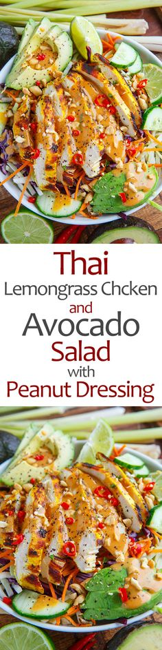 Thai Lemongrass Chicken and Avocado Salad with Spicy Peanut Dressing- Looks great- sub out the sugar (a very small amount) with appropriate sweetener. Salad Bar, Soup And Salad, Mix Salad, Food Salad, Asian Recipes, Healthy Recipes, Healthy Dishes, Thai Recipes, Peanut Dressing