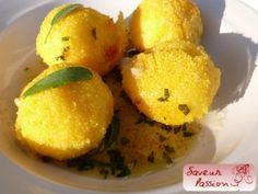 polpette de polenta au gorgonzola, beurre de sauge