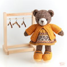 Amigurumi teddy bear toy Lora a knitted stuffed plush bear animal with clothes Teddy bunny Lora is a knitted stuffed animal with a set of clothes. She is about 9,5 inches (24 cm) tall. Bear Animal, Teddy Bear Toys, Plush Animals, Bunny, Clothes, Amigurumi, Outfits, Felt Stuffed Animals, Cute Bunny