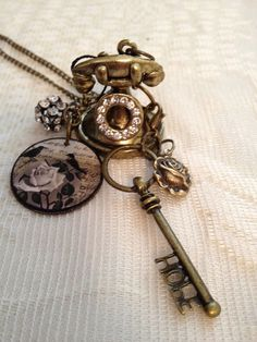 Pendant Necklace:  Miniature Old Telephone, Antique Bronze.. $19.00, via Etsy.