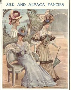 Magazine page showing fashions for silk and alpaca, ca. early 1900s