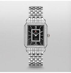 MICHELE® Watches - Deco II Diamond, Black Diamond Dial Watch