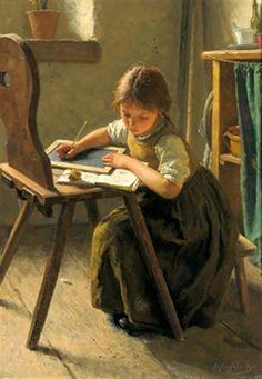 The Homework by Simon Glücklich. Wat een verschil met nu, je huiswerk maken op een lei met griffel.