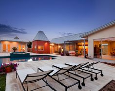 Exquisite Private House Design in Large Design: Fabulous Modern Patio With Pool Private Residence And Guest House