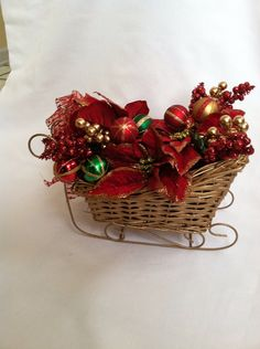 Gold Sleigh Christmas Centerpiece  by FlowersbyCari on Etsy