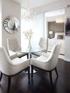 The color scheme is Perfect! I have a small dining area so that round table would fit very nicely!