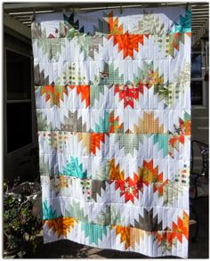 """Fun """"Delectable Mountain"""" quilt top by Jan Prytz of Janice Elaine Sews. I'd love to see a scrapy version of this! Tutorial found here: http://quiltville.blogspot.com/2005/06/scrappy-mountain-majesties.html"""