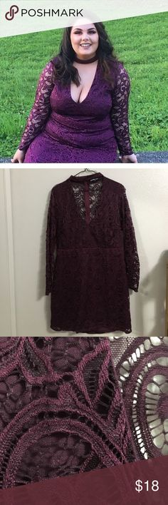 Burgundy plus size party dress So cute! I wore this for my 21st birthday and its been in my closet ever since. Charlotte Russe Dresses Midi