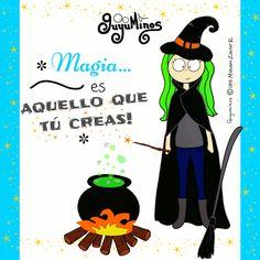 Ser tú mism@ es la única magia que necesitas! :D *Magic is what you do! #magia   #crear   #tu   #guyuminos   #ilustracion   #gif   #cute   #halloween   #witch