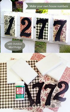 Use simple materials from Home Depot to make a custom house number sign. It's easy with your favorite scrapbook papers, paints and Mod Podge!