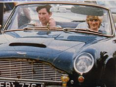 Charles and Diana in his beloved Aston Martin.