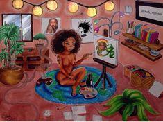 Beautiful artwork by ✨ Black Love Art, Black Girl Art, Art Girl, Black Art Pictures, Urban Pictures, Black Picture, Black Comics, Stoner Art, Black Artwork