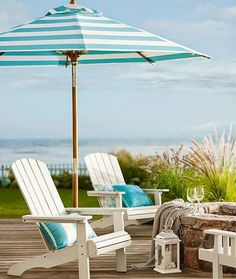 Adirondack chairs, painted white Striped 9ft parasol --- Outdoor Living www.OutdoorLivingHawaii.com