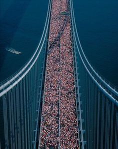 New York City Marathon arial photo on bridge If Opray Winfrey & Pamela Anderson can do the marathon, i can do it too...