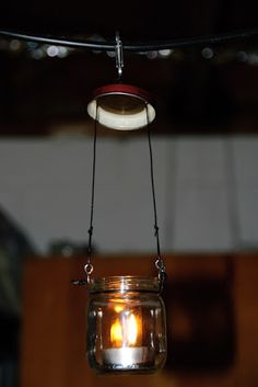 Bushcraft - DIY backpacking lantern made from baby food jar and tea candles.