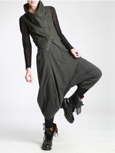 LOW CROTCH TROUSERS MADE OF WOOLY LOOKING COTTON - JACKETS, JUMPSUITS, DRESSES, TROUSERS, SKIRTS, JERSEY, KNITWEAR, ACCESORIES - Woman -
