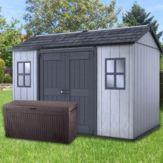 The Oakland 1175 in an enhanced Keter shed, made to endure heavy weather conditions. Storage Shed Kits, Garden Storage Shed, Keter Sheds, Shed Base, Steel Siding, Plastic Sheds, Clutter Solutions, Large Sheds, Transom Windows