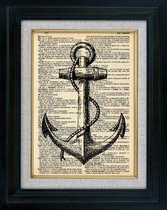 Rétro voile bateau ancre Vintage Illustration sur par classicprints, $6.95
