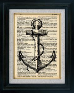 Closest idea to the anchor tattoo i'm getting (Retro Sail Ship Anchor Vintage Illustration on Book Page Art Print)