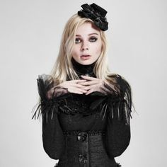 Punk-Rave-3in1-Gothic-Lolita-Handschuhe-Kragen-Haube-Steampunk-Glove-Collar-LS43