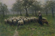 shepherdess with flock of sheep ~ Anton Mauve, 1870-1888