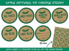 Rubber Stamp Pickle Kraft Paper Canning Jar labels, Dill, Sweet, Bread & Butter Pickles, and Relish, 2 inch rustic round mason jar stickers, grow your own food, green, CanningCrafts, $6