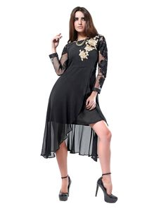 Inddus Exclusive Women Sizzling Black Georgette Embroidered Kurti with Sizes - S, M, L, XL.
